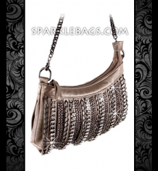 ❤ SOLD OUT!   Metallic Bronze   Pewter - Rhinestone Crystal Sparkling Cross Body Messenger Handbag Purse - Embelished with Chains & Stones