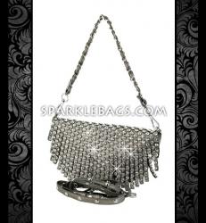 ❤ SOLD OUT! | Black | Pewter Silver - Rhinestone Crystal Sparkling Cross Body Messenger Handbag - Embelished Purse with Fringe