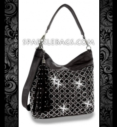 ❤ SOLD OUT! | Black - Rhinestone Crystal Circle Pattern Sparkle Handbag Hobo Tote Purse - Plus Decorative Tassel