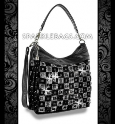 ❤ SOLD OUT! | Black - Rhinestone Crystal Checkard Pattern Sparkle Handbag Hobo Tote Purse - Plus Decorative Tassel