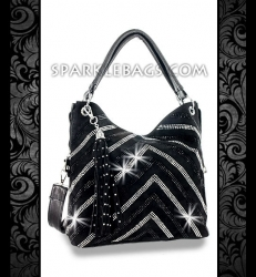 ❤ SOLD OUT! | Black - Rhinestone Crystal V Pattern Sparkle Handbag Hobo Tote Purse - Detachable Decorative Tassel