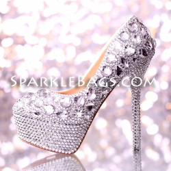 "❤ SOLD OUT! | Crystal Rhinestone Bridal High Heel Sparkle Bling Shoes 5.5"" Heels"