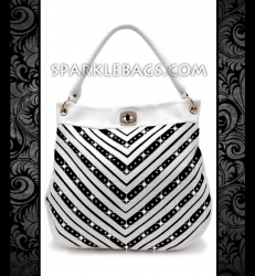 ❤ SOLD OUT! | White - Rhinestone Crystal V Chevron Pattern Sparkle Handbag Hobo Tote Purse - Pink Black White
