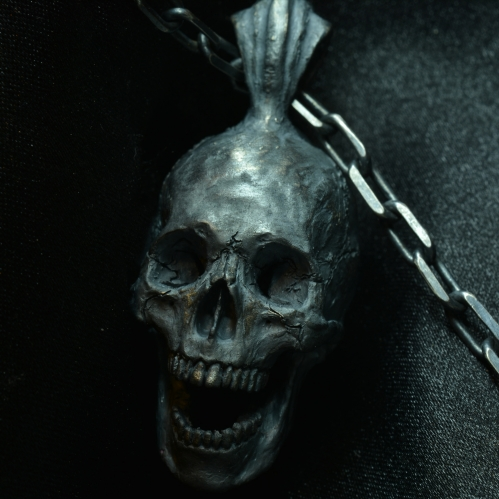 Open Full Jaw Pendant with Chain • .925 Sterling Silver • Skull pendant •