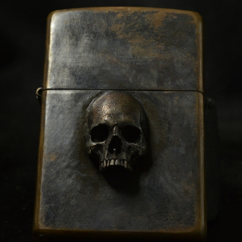 Skull Half Jaw Lighter • Zippo • .925 Silver Skull Rustic Finish •