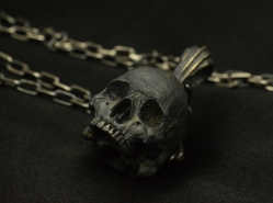 Half jaw pendant with chain 925 sterling silver skull necklace use your mouses scroll wheel to zoom in and out mozeypictures Choice Image