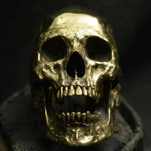Brass Large Open Jaw • Skull Ring • Polished Finish