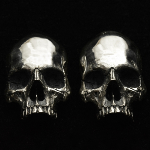 Skull Cuff Links Half Jaw • .925 Sterling Silver Skulls •