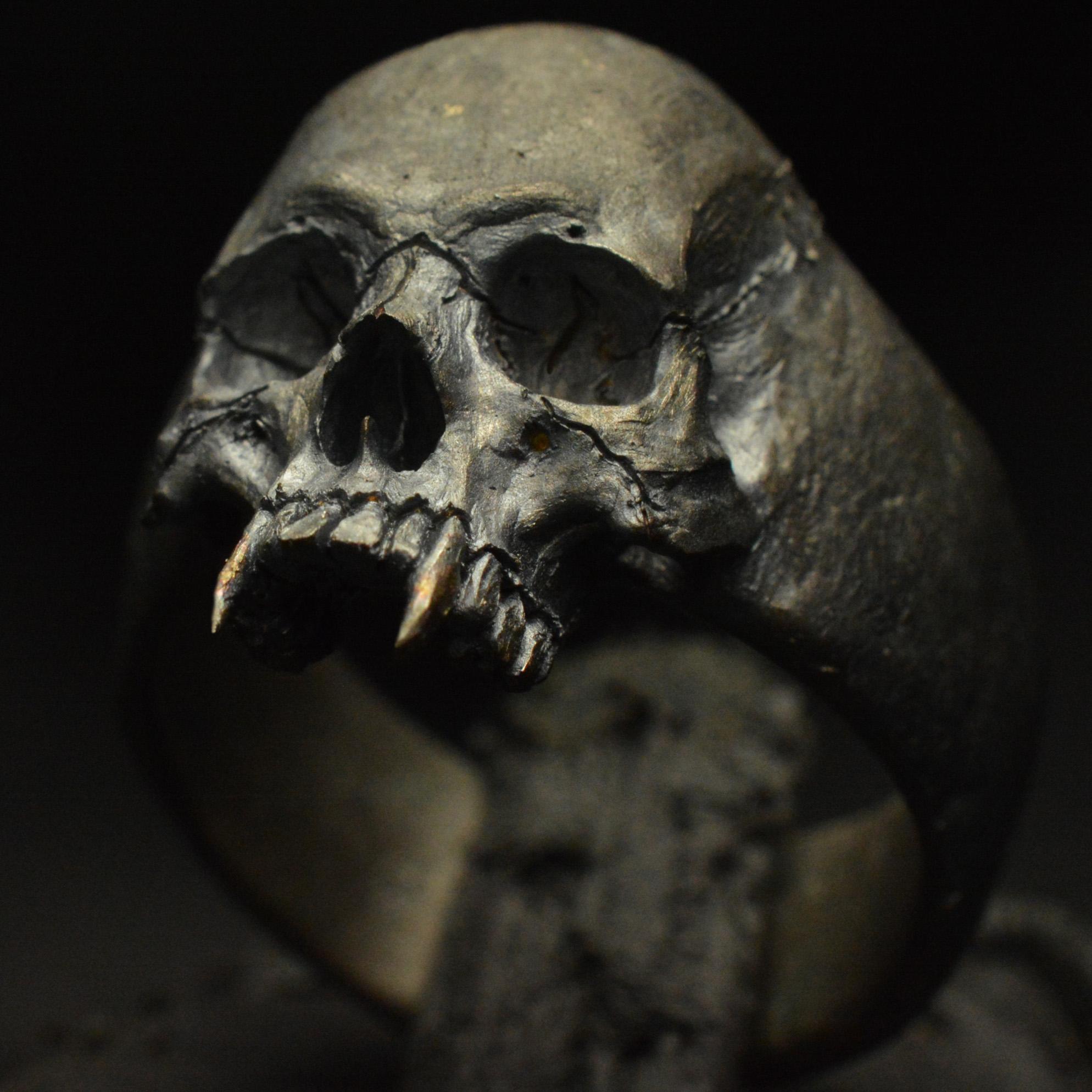 Vampire Small Half Jaw 925 Sterling Silver Skull Ring