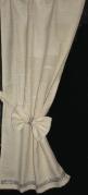 """Cream curtain & tie Bling trim 15""""w x 28"""""""