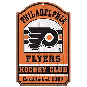 Philadelphia Flyers Nhl Wood Sign 11x17 Hockey Club Office