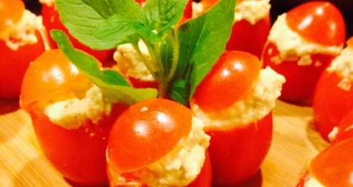 CHEEEESE AND HERB STUFFED GRAPE TOMATOES   ~E.G.PLOTTPALMTREES.COM