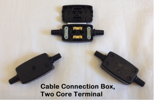Two Core Terminal Cable Connection Box, Black